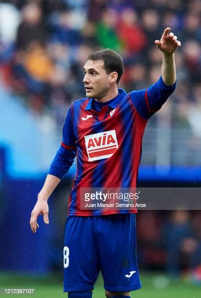 Sebastian Cristoforo of SD Eibar reacts during the Liga match between SD Eibar SAD and RCD Mallorca at Ipurua Municipal Stadium on March 07 2020 in...