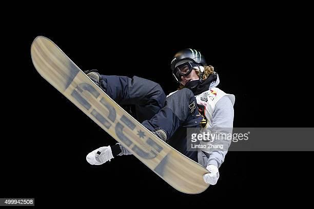 Sebastian De Buck of Belgium competes during the Air Style Beijing 2015 Snowboard World Cup at Beijing National Stadium on December 4 2015 in Beijing...