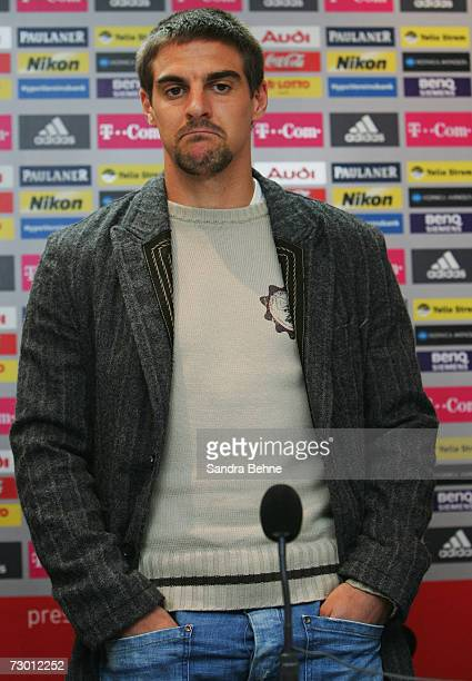 Sebastian Deisler looks on during the Bayern Munich press conference at Bayern's training ground Saebener Strasse on January 16 2007 in Munich...