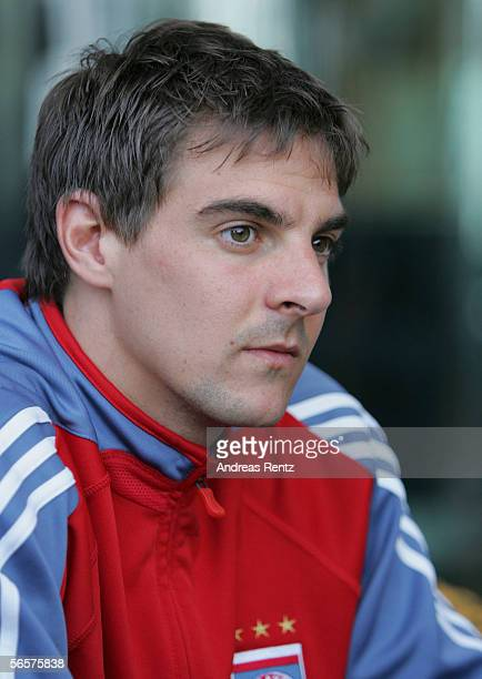 Sebastian Deisler of German Bundesliga club Bayern Munich looks on at a press conference on January 12 2006 at their training camp in Dubai United...