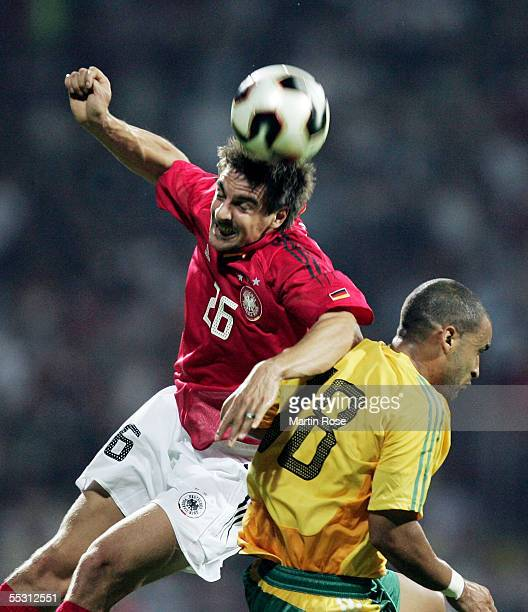 Sebastian Deisler of Germany and Delron Buckley of South Africa heads for the ball during the friendly match between Germany and South Africa at the...