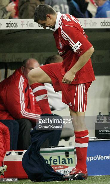 Sebastian Deisler removes his long trousers during the Bundesliga match bewteen Bayern Munich and VFB Stuttgart at the Allianz Arena on November 18,...