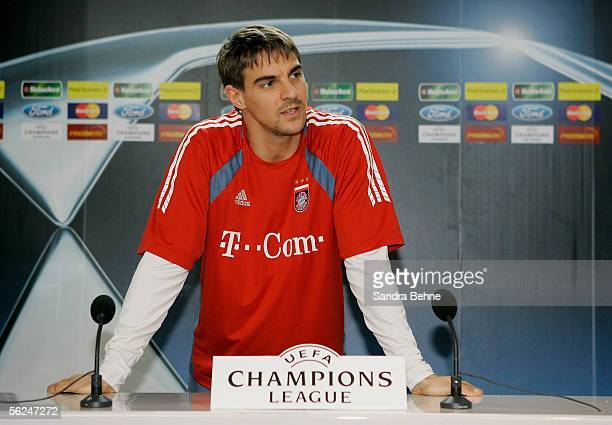 Sebastian Deisler speaks to the journalists during the Bayern Munich press conference for the Champions League Group A match between Bayern Munich...