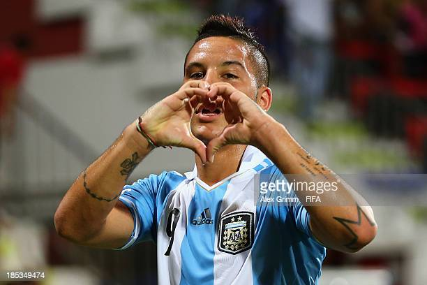 Sebastian Driussi of Argentina celebrates his team's first goal during the FIFA U-17 World Cup UAE 2013 Group E match between Iran and Argentina at...