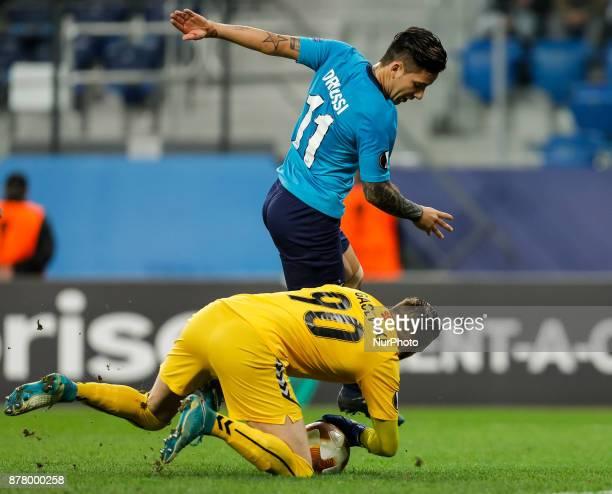 Sebastian Driussi of FC Zenit Saint Petersburg and Filip Gachevski of FK Vardar vie for the ball during the UEFA Europa League Group L match between...