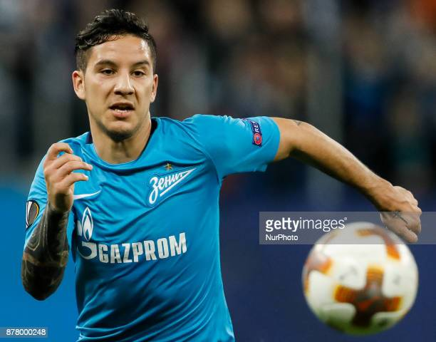 Sebastian Driussi of FC Zenit Saint Petersburg in action during the UEFA Europa League Group L match between FC Zenit St Petersburg and FK Vardar at...