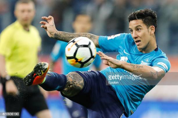Sebastian Driussi of FC Zenit Saint Petersburg shoots the ball during the Russian Football League match between FC Zenit St Petersburg and FC Rubin...
