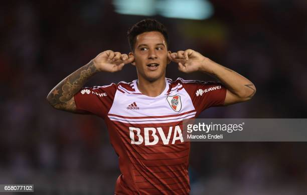 Sebastian Driussi of River Plate celebrates after scoring the first goal of his team during a match between River Plate and Belgrano as part of...