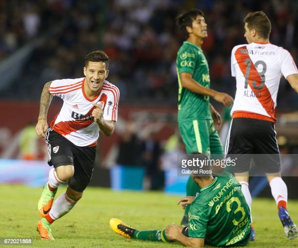 Sebastian Driussi of River Plate celebrates after scoring the first goal of his team during a match between River Plate and Sarmiento as part of...