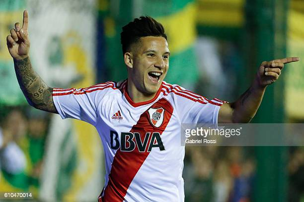 Sebastian Driussi of River Plate celebrates after scoring the third goal of his team during a match between Defensa y Justicia and River Plate as...