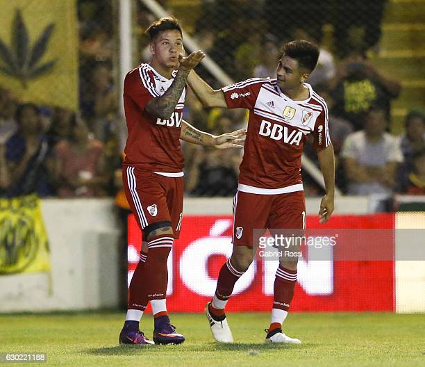 Sebastian Driussi of River Plate celebrates with teammate Gonzalo Martinez after scoring the second goal of his team during a match between Olimpo...