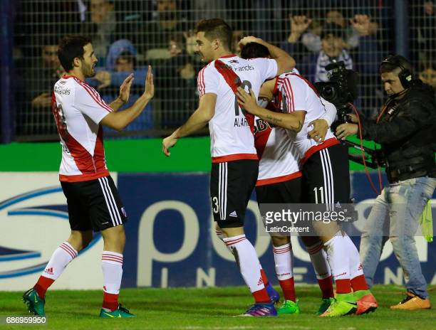 Sebastian Driussi of River Plate celebrates with teammates Camilo Mayada Lucas Alario and Gonzalo Martinez after scoring the first goal of his team...