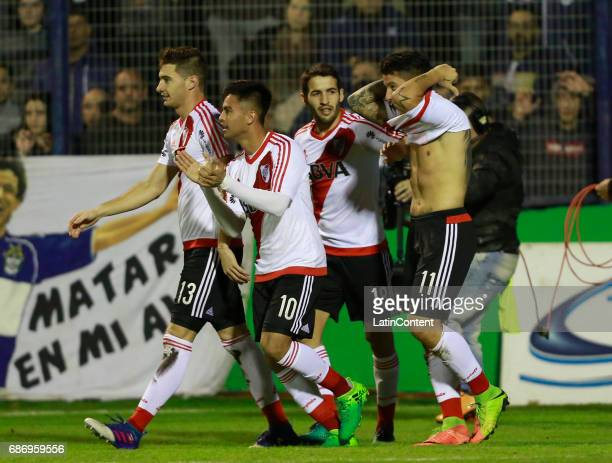 Sebastian Driussi of River Plate celebrates with teammates Lucas Alario Camilo Mayada and Gonzalo Martinez after scoring the first goal of his team...