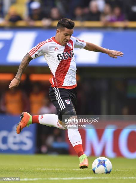 Sebastian Driussi of River Plate drives the ball during a match between Boca Juniors and River Plate as part of Torneo Primera Division 2016/17 at...