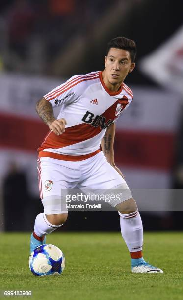 Sebastian Driussi of River Plate drives the ball during a match between River Plate and Aldosivi as part of Torneo Primera Division 2016/17 at...