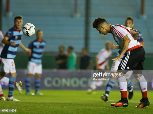 Sebastian Driussi of River Plate heads the ball to score the first goal of his team during a match between River Plate and Arsenal FC as part of...