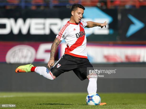 Sebastian Driussi of River Plate kicks a penalty to score the first goal of his team during a match between San Lorenzo and River Plate as part of...