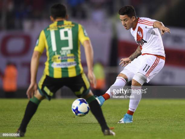 Sebastian Driussi of River Plate kicks the ball during a match between River Plate and Aldosivi as part of Torneo Primera Division 2016/17 at...