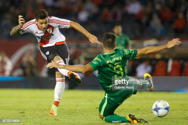 Sebastian Driussi of River Plate kicks the ball to score the first goal of his team during a match between River Plate and Sarmiento as part of...