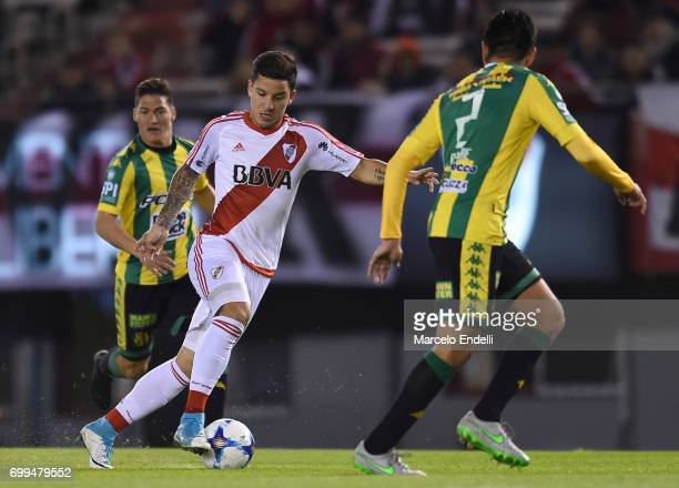 Sebastian Driussi of River Plate plays the ball during a match between River Plate and Aldosivi as part of Torneo Primera Division 2016/17 at...