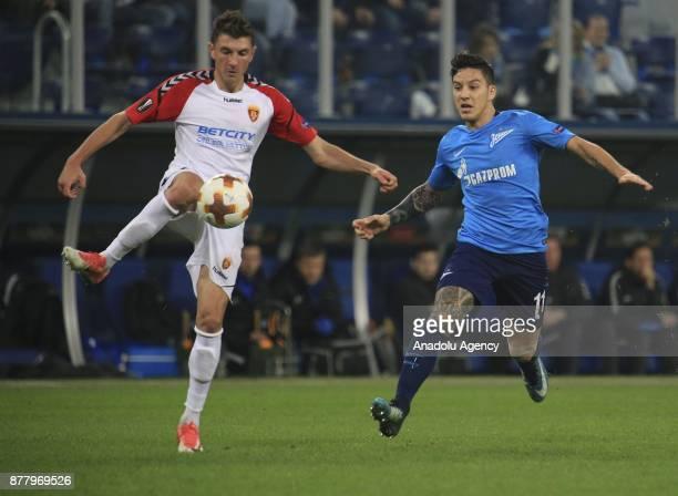 Sebastian Driussi of Zenit St Petersburg in action against Ievgenii Novak of Vardar during the UEFA Europa League Group L football match between...
