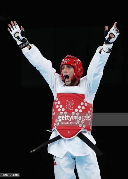 Sebastian Eduardo Crismanich of Argentina celebrates winning the Gold medal in the Men's 80kg Taekwondo Gold Medal Final against Nicolas Garcia Hemme...