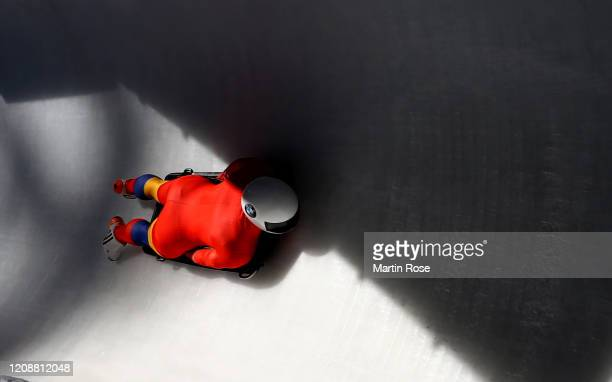 Sebastian Enache of Romania in action during a training run for the Men's Skeleton during day 6 of the BMW IBSF World Championships Altenberg 2020 on...