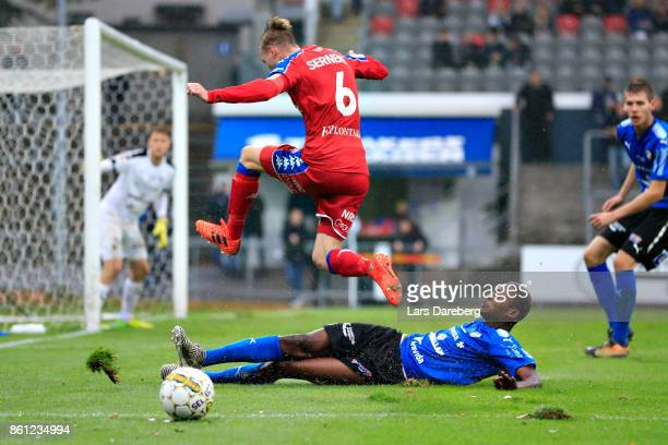 Sebastian Eriksson of IFK Goteborg and Aboubakar Keita of Halmstad BK during the allsvenskan match between Halmstad BK and IFK Goteborg at Orjans...