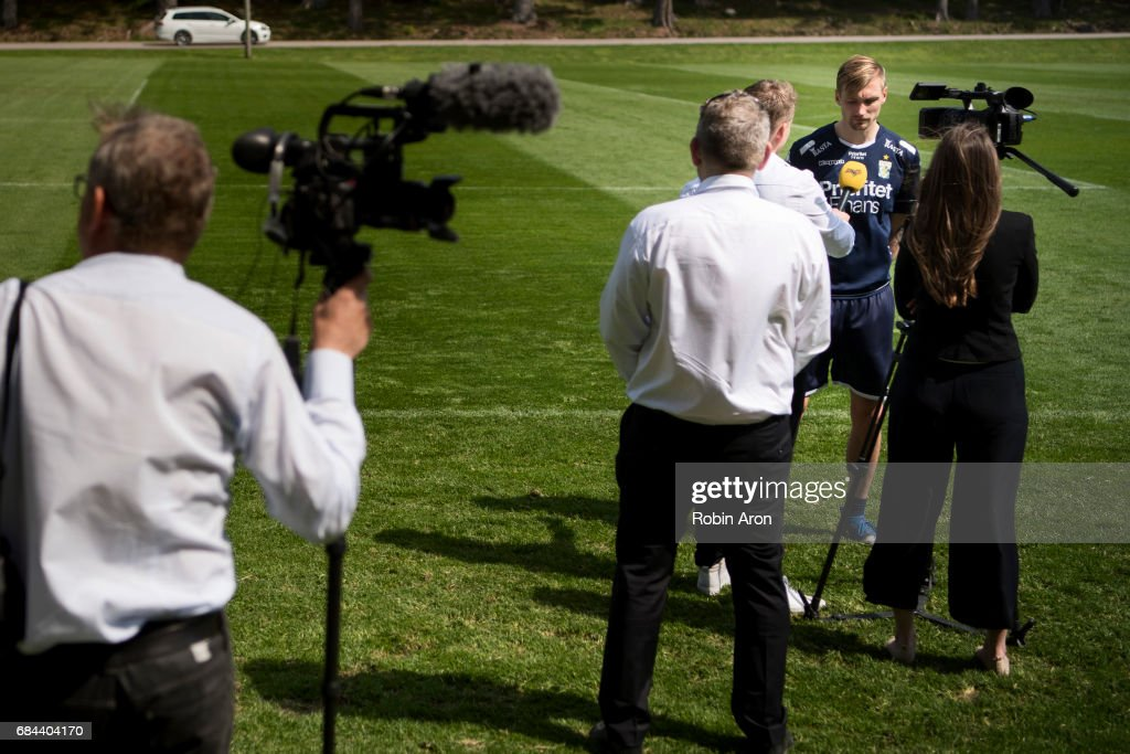 Sebastian Eriksson of IFK Goteborg gets intervjued by media at IFK Goteborgs training center Kamratgarden after it was announced that the the Allsvenskan match between IFK Goteborg and AIK is cancelled due to suspicions of match fixing, on May 18, 2017 in Gothenburg, Sweden.