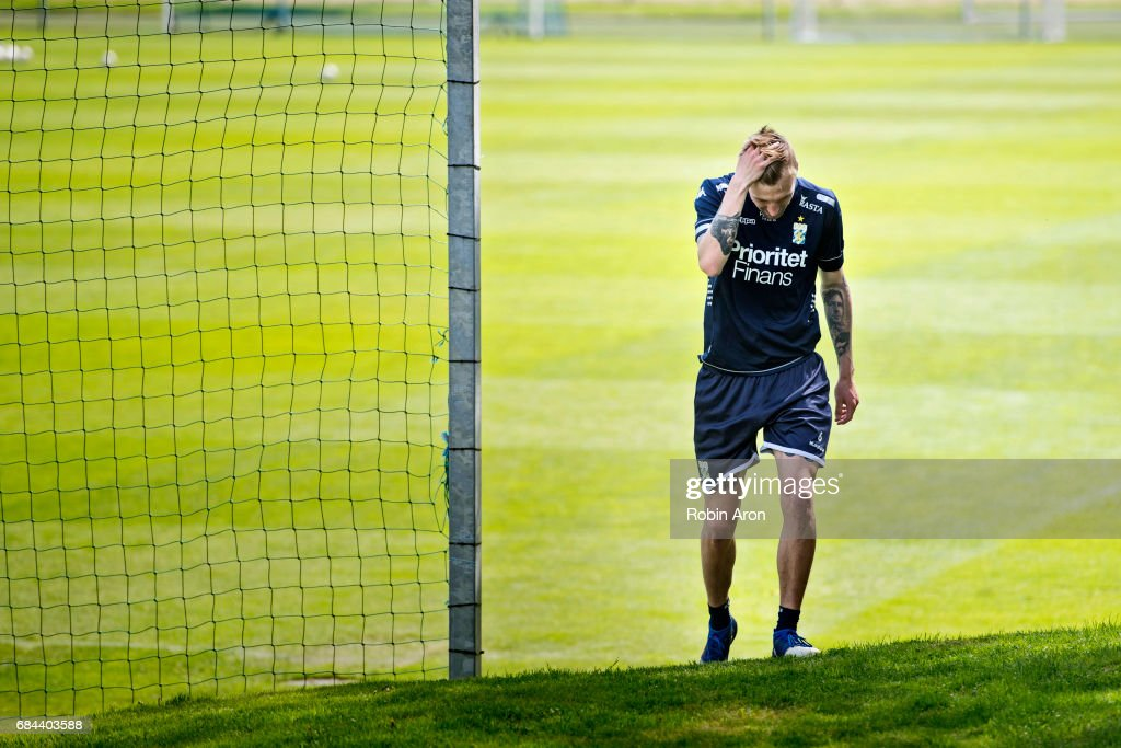 Sebastian Eriksson of IFK Goteborg leaves the training at training center Kamratgarden after it was announced that the the Allsvenskan match between IFK Goteborg and AIK is cancelled due to suspicions of match fixing, on May 18, 2017 in Gothenburg, Sweden.
