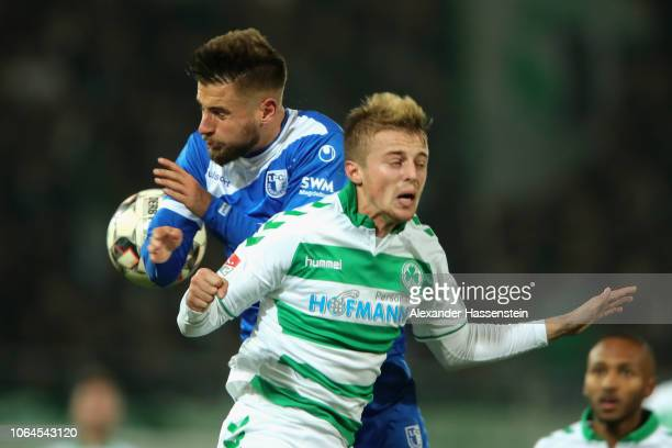 Sebastian Ernst of Fuerth battles for the ball with Michael Niemeyer of Magdeburg during the Second Bundesliga match between SpVgg Greuther Fuerth...