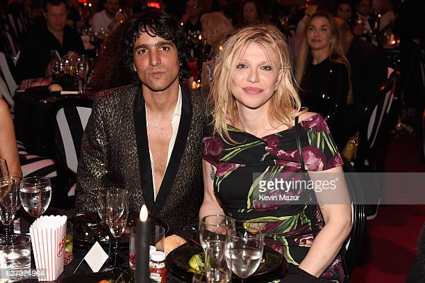Sebastian Faena and Courtney Love attend An Evening of Music Art Mischief and Performance to benefit Raising Malawi presented by Madonna at Faena...