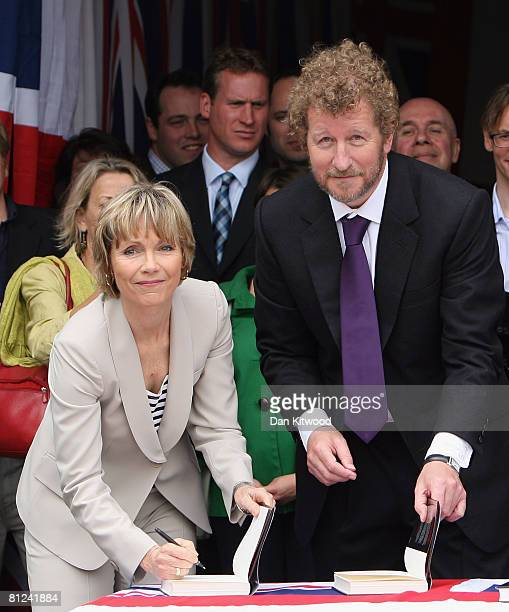 Sebastian Faulks poses with2 Ian Fleming's neice Lucy Fleming as he launches 'Devil May Care' the latest in the series of James Bond novels outside...