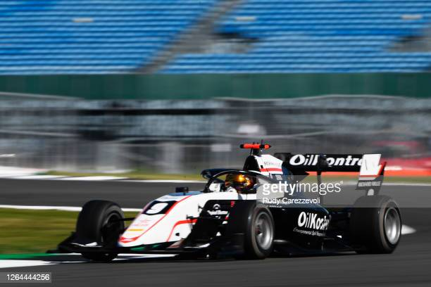 Sebastian Fernandez of Spain and ART Grand Prix drives during practice for the Formula 3 Championship at Silverstone on August 07, 2020 in...
