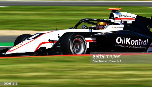 Sebastian Fernandez of Spain and ART Grand Prix drives on track during qualifying for the Formula 3 Championship at Silverstone on July 31, 2020 in...
