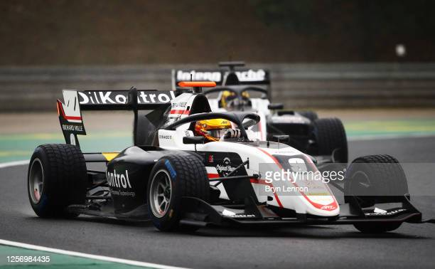 Sebastian Fernandez of Spain and ART Grand Prix leads Theo Pourchaire of France and ART Grand Prix during race two of the Formula 3 Championship at...