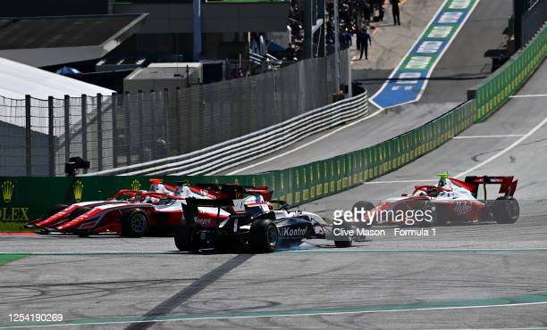 Sebastian Fernandez of Spain and ART Grand Prix spins at the start during the feature race for the Formula 3 Championship at Red Bull Ring on July...