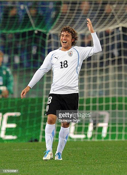 Sebastian Fernandez of Uruguay celebrates after scoring opening goal during the International friendly match between Italy and Uruguay at Olimpico...