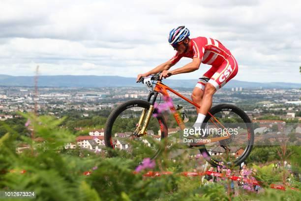 Sebastian Fini Carstensen of Denmark rides during the Men's Mountain Bike Cross-Country on Day Six of the European Championships Glasgow 2018 at...