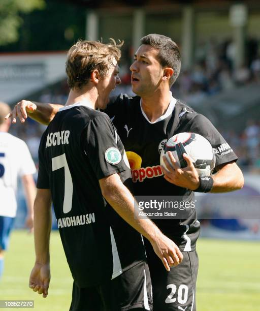 Sebastian Fischer and Emre Oeztuerk of Sandhausen celebrate a goal during a Third League match between 1.FC Heidenheim and SV Sandhausen on August...