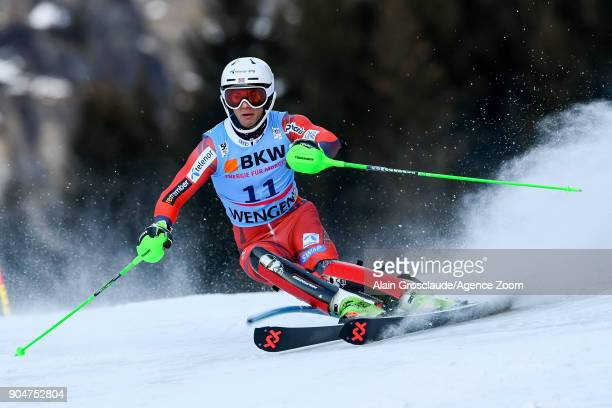 Sebastian Fosssolevaag of Norway competes during the Audi FIS Alpine Ski World Cup Men's Slalom on January 14 2018 in Wengen Switzerland