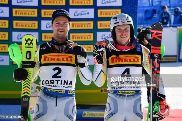 Sebastian Foss-solevaag of Norway wins the gold medal, Henrik Kristoffersen of Norway wins the bronze medal during the FIS Alpine Ski World...