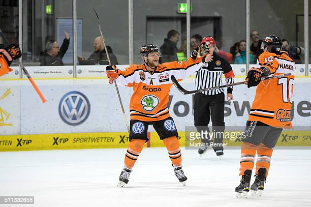 Sebastian Furchner and Tyler Haskins of Grizzlys Wolfsburg during the game between Grizzlys Wolfsburg and Eisbaeren Berlin on February 19 2016 in...