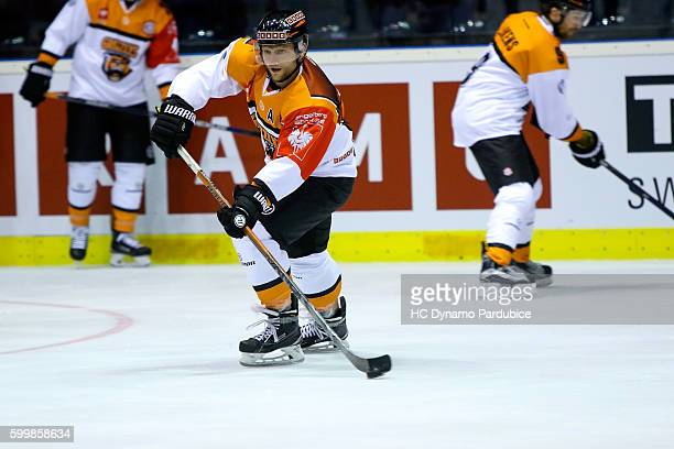 Sebastian Furchner of Grizzlys Wolfsbur top scorer of a team during the pregame of Champions Hockey League match between Dynamo Pardubice and...