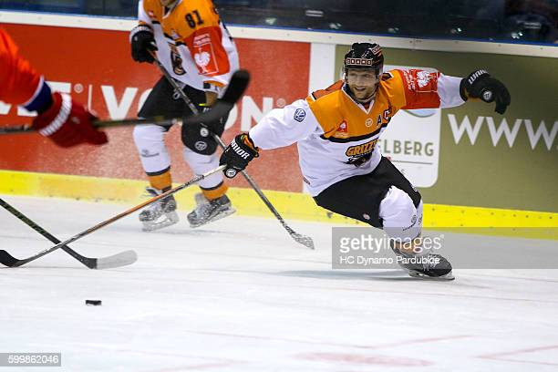 Sebastian Furchner of Grizzlys Wolfsburg leads the puck during the Champions Hockey League match between Dynamo Pardubice and Grizzlys Wolfsburg at...