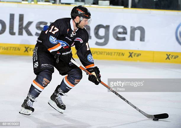 Sebastian Furchner of the Grizzlys Wolfsburg handles the puck during the action shot on September 25 2016 in Wolfsburg Germany
