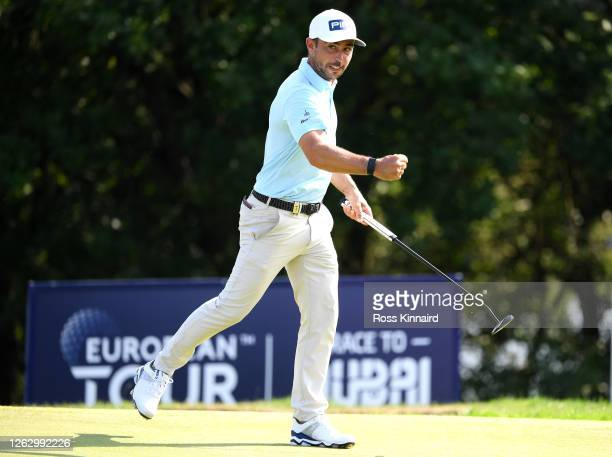 Sebastian Garcia Rodriguez of Spain celebrates a birdie on the 18th during Day two of the Hero Open at Marriott Forest of Arden on July 31, 2020 in...
