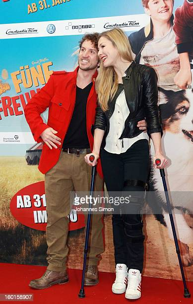 Sebastian Gerold and Genija Rykovaarrive for the 'Fuenf Freunde 2' movie premiere at CineMaxx Cinema on January 27 2013 in Munich Germany
