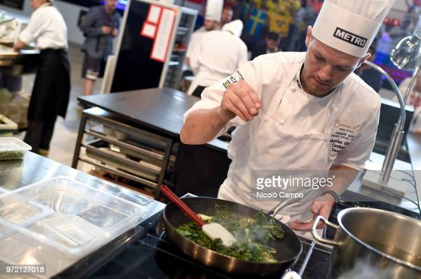 Sebastian Gibrand of Sweden cooks during the Europe 2018 Bocuse d'Or International culinary competition Best ten teams will access to the world final...