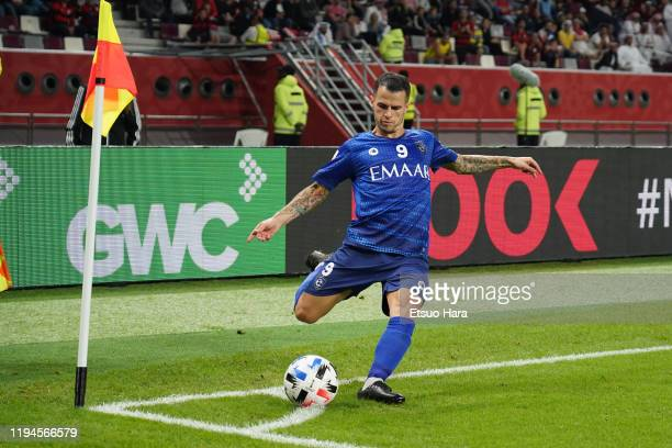 Sebastian Giovinco of Al Hilal kicks the ball during the FIFA Club World Cup Qatar Semifinal between CR Flamengo and Al Hilal at Khalifa...